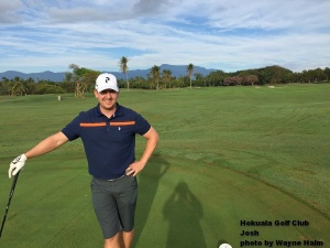 Josh on the first tee at the Hokuala Golf Club on Kauai