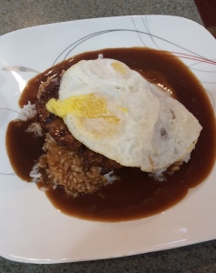 Tiffany had fruit and toast … but I had a manly Loco Moco.