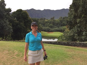 – Tiffany on the 6th tee at the Puakea Golf Course on Kauai