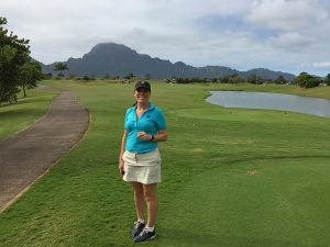 – tiffany on the 10th tee at the Puakea Golf Course on Kauai