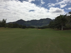 The Puakea Golf Course is wide enough to contain most of our shots.