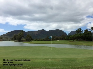 The 18th green and fairway of the Ocean Course at Hokuala on Kauaia