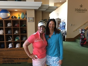Lisa Longball and Kellie Hines at the Ocean Course at Hokuala on Kauai